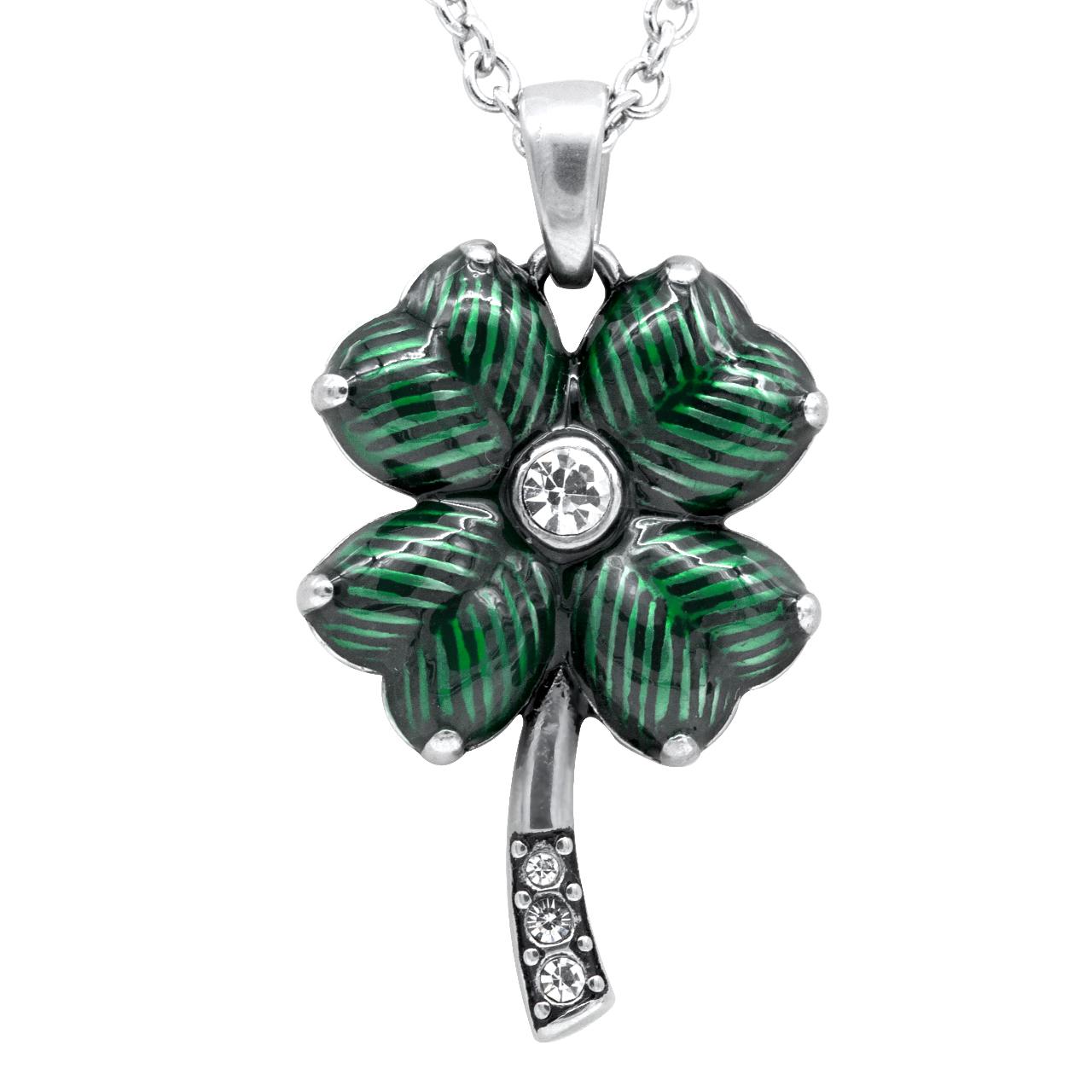 Four Leaf Clover with Swarovski Crystals Necklace