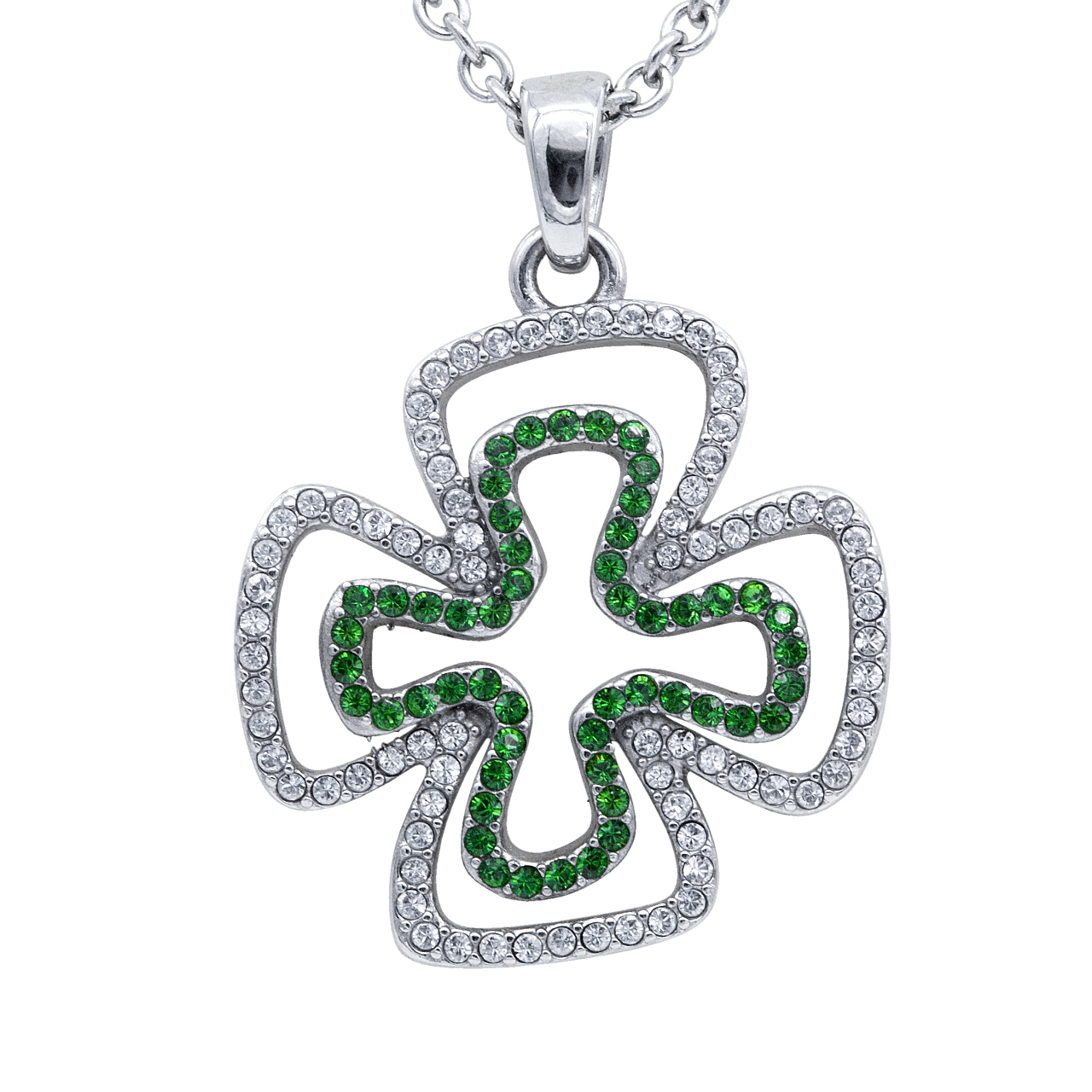 Double Your Luck Clover with 130 Swarovski Crystals Necklace